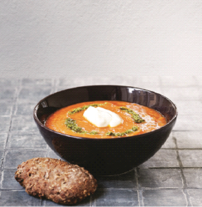 Tomato soup with potatoes and chickpeas